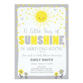 A Ray Of Sunshine Baby Shower Invitation Neutral
