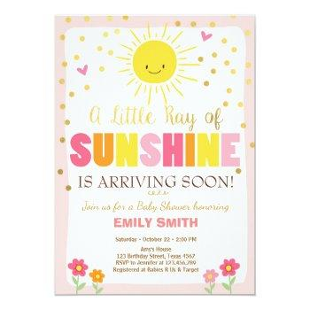 A Ray Of Sunshine Baby Shower Invitation Pink Girl