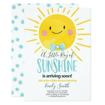 A Ray Of Sunshine Little Boy Blue Baby Shower Invitation