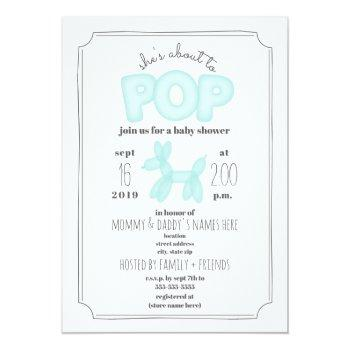 About To Pop Blue Balloon Animal Baby Shower Invitation