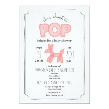 About To Pop Pink Balloon Animal Baby Shower Invitation