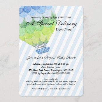 Adoption Boy Baby Shower, Blue Hot Air Balloon Invitation