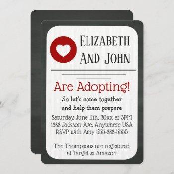 Adoption Shower Red & Black Chalkboard Invatation Invitation