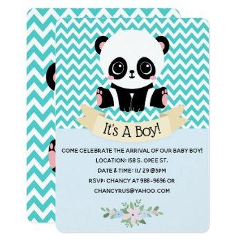 Adorable Baby Panda Blue Baby Shower Invitations