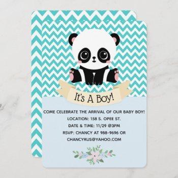 Adorable Baby Panda Blue Baby Shower Invitations