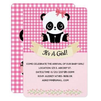 Adorable Baby Panda Pink Baby Shower Invitations