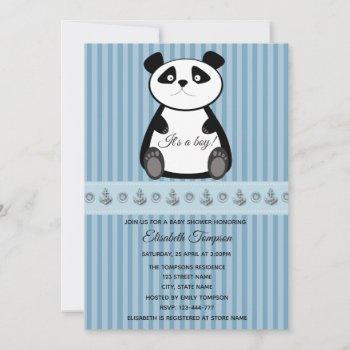 Adorable Cute Funny Baby Panda Boy Baby Shower Invitation
