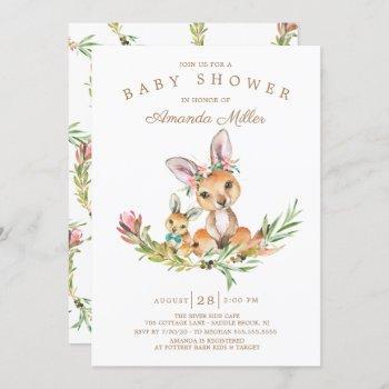 Adorable Kangaroo Mom & Baby Boys Baby Shower Invitation
