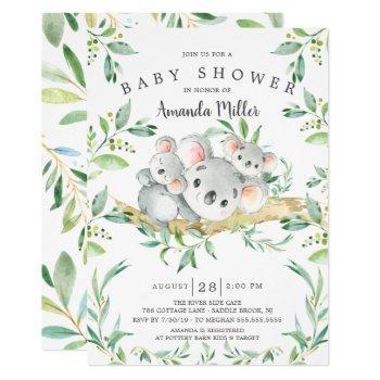 Adorable Koala Beartwins Baby Shower Invitation