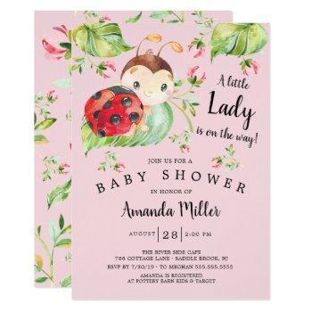 Adorable Little Lady Ladybug Baby Shower Invitation