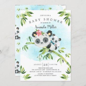 Adorable Panda Bear Boys Baby Shower Invitation