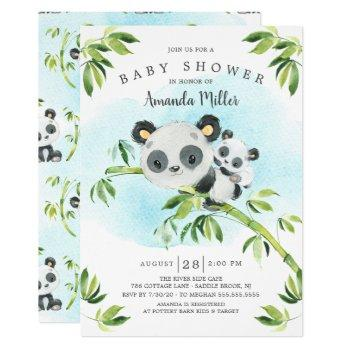 Adorable Panda Bear Neutral Baby Shower Invitation
