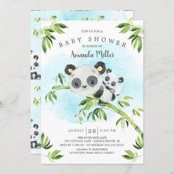 Adorable Panda Bear Neutral Baby Shower Invitation
