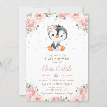 Adorable Penguin Blush Floral Girl Baby Shower