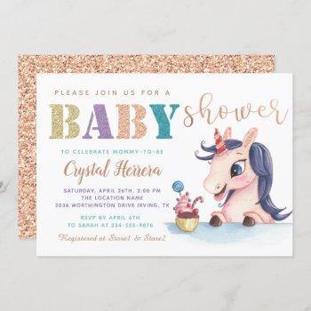 Adorable Rose Gold Glitter Unicorn Baby Shower