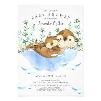 Adorable Sea Otter Neutral Baby Shower Invitation