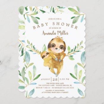 Adorable Sloth Baby Shower Invitation