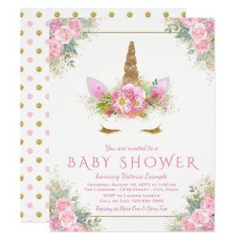 Adorable Unicorn Face Baby Shower Invitations
