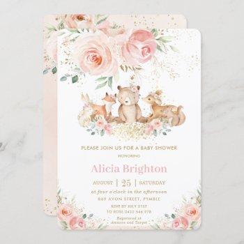 Adorable Woodland Blush Floral Girly Baby Shower