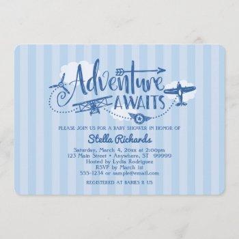 """adventure Awaits"" Aviation Baby Shower Invitation"