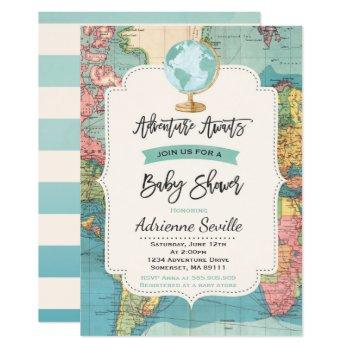 Adventure Awaits Baby Shower Invitation Map Shower
