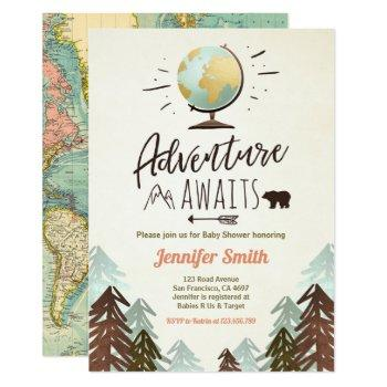 Adventure Awaits Baby Shower Invite Vintage Rustic