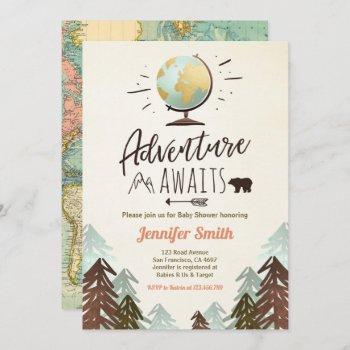 Adventure Awaits Baby Shower Invite Vintage Rustic