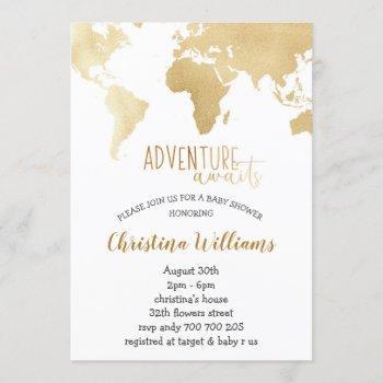Adventure Awaits Gold Foil World Map Baby Shower