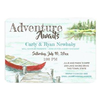 Adventure Awaits Lake And Canoe Baby Shower Invitation