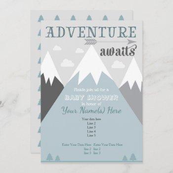 Adventure Awaits Mountain Baby Shower Invitation