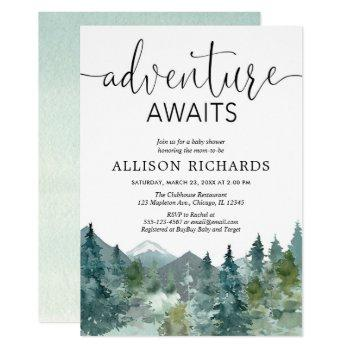 Adventure Awaits Rustic Woodland Baby Shower Invitation