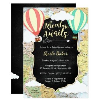 Adventure Awaits Travel Baby Shower Invitation