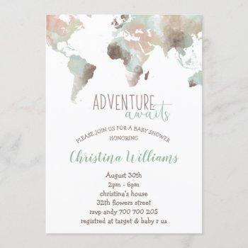 Adventure Awaits Watercolor World Map Baby Shower