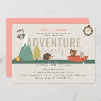 Adventure Awaits Woodland Girl Pink Baby Shower