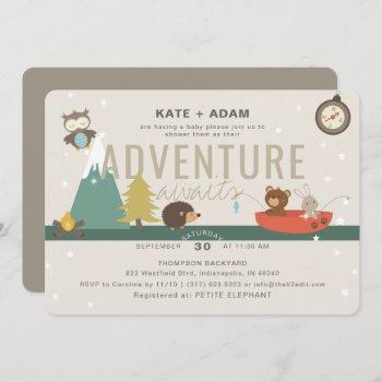 Adventure Awaits Woodland Neutral Taup Baby Shower