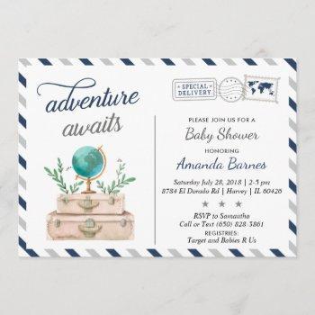 Adventure Awaits World Travel Baby Boy Shower Navy