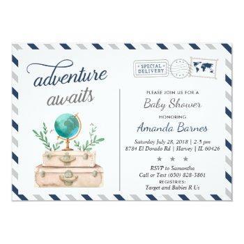 Adventure Awaits World Travel Baby Boy Shower Navy Invitation