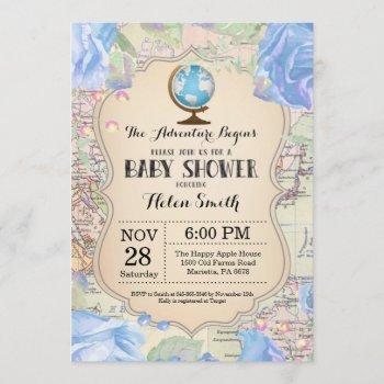 Adventure Baby Shower Blue Floral Map Travel World