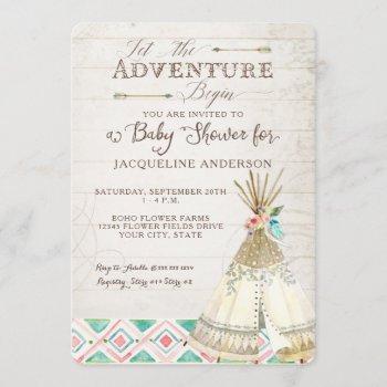 Adventure Baby Shower Girl Teepee Wood Arrows Art Invitation