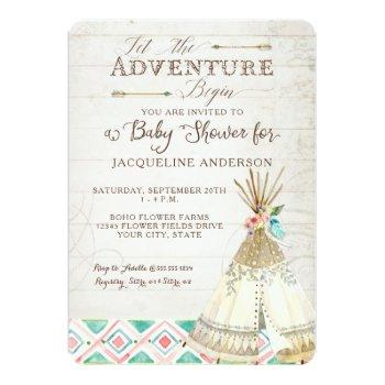 Adventure Baby Shower Girl Teepee Wood Arrows Art Invitation