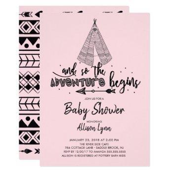 Adventure Begins Girls Baby Shower Invitation