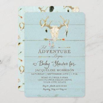 Adventure Boy Baby Shower Teepee Wood Arrows Deer Invitation