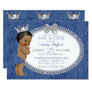 African American Baby Boy Denim & Diamonds Invitation