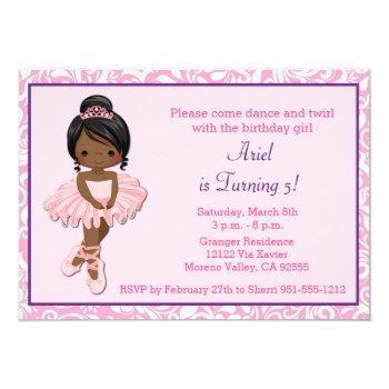 African American Ballerina Birthday Invitation