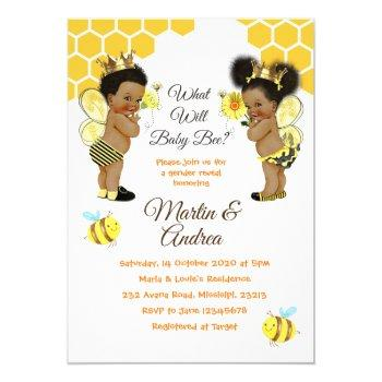 African American Bee Gender Reveal Bee Party Invitation