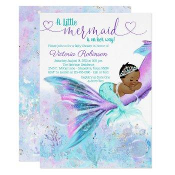 African American Ethnic Mermaid Baby Shower Invitation