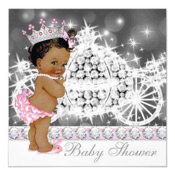African American Ethnic Princess Girl Baby Shower Invitation
