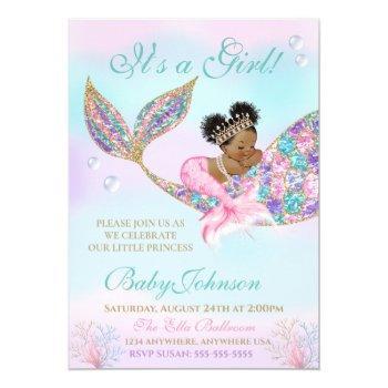 African American Mermaid Baby Shower Glitter Tail Invitation