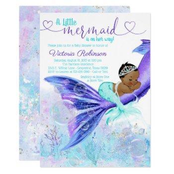 African American Mermaid Baby Shower Invitation