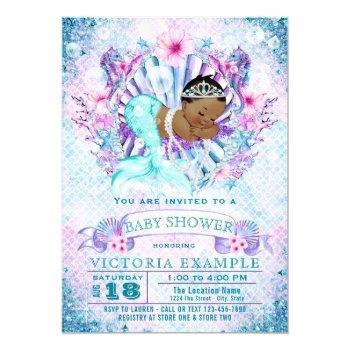 African American Mermaid Baby Shower Invitations